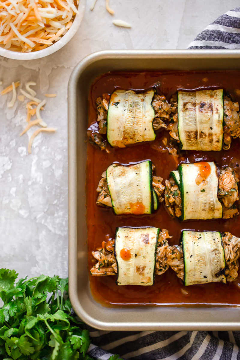 Zucchini Chicken Enchilada Roll Ups 5 Freestyle Points 225 Calories 183 Italian Delights Recipes